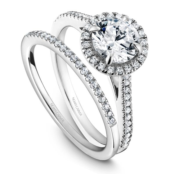 A Noam Carver Engagement Ring in 14K White Gold with 42 Round Diamonds Image 4 Grogan Jewelers Florence, AL