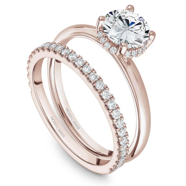 A Noam Carver Engagement Ring in 14K Rose Gold with 16 Round Diamonds Image 4 Grogan Jewelers Florence, AL
