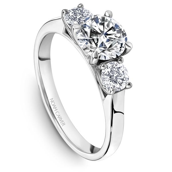 A Noam Carver Engagement Ring in 14K White Gold with 2 Round Diamonds Grogan Jewelers Florence, AL