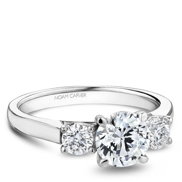 A Noam Carver Engagement Ring in 14K White Gold with 2 Round Diamonds Image 2 Grogan Jewelers Florence, AL