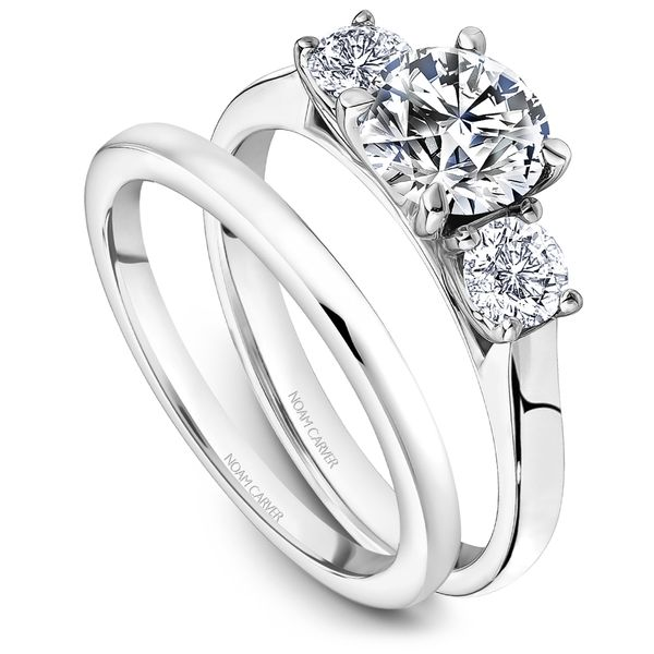 A Noam Carver Engagement Ring in 14K White Gold with 2 Round Diamonds Image 4 Grogan Jewelers Florence, AL