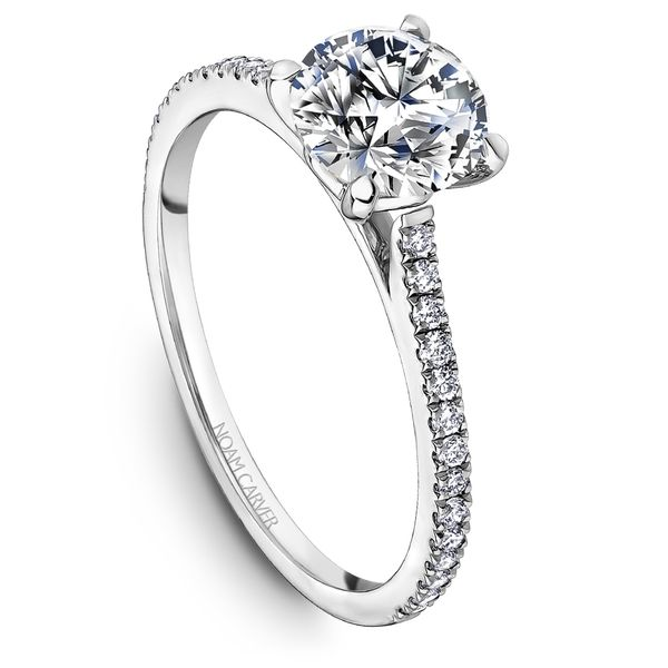 A Noam Carver Engagement Ring in 14K White Gold with 28 Round Diamonds Grogan Jewelers Florence, AL