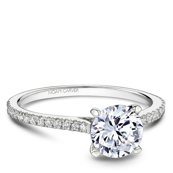 A Noam Carver Engagement Ring in 14K White Gold with 28 Round Diamonds Image 2 Grogan Jewelers Florence, AL
