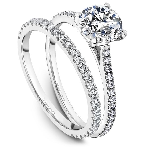 A Noam Carver Engagement Ring in 14K White Gold with 28 Round Diamonds Image 4 Grogan Jewelers Florence, AL