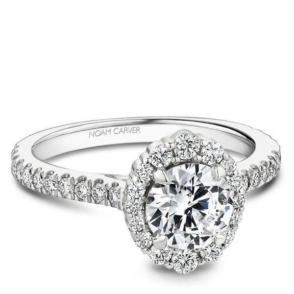 A Noam Carver Engagement Ring in 18K White Gold with 40 Round Diamonds Image 2 Grogan Jewelers Florence, AL