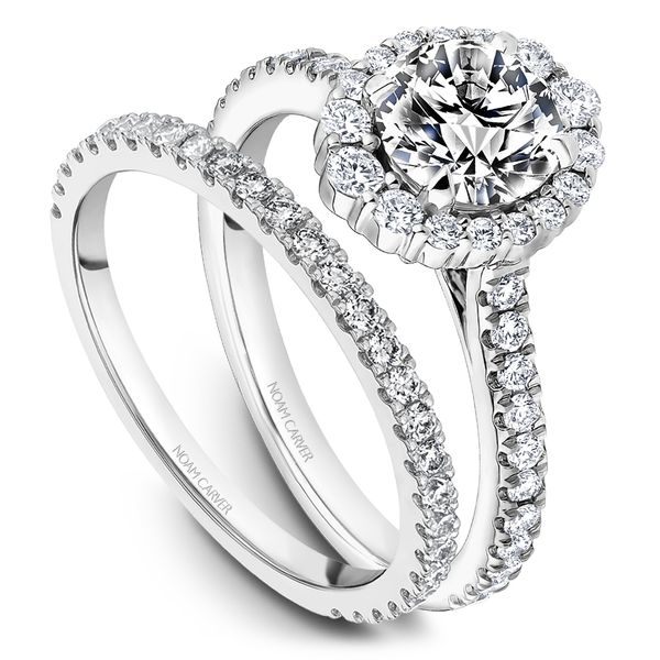 A Noam Carver Engagement Ring in 18K White Gold with 40 Round Diamonds Image 4 Grogan Jewelers Florence, AL