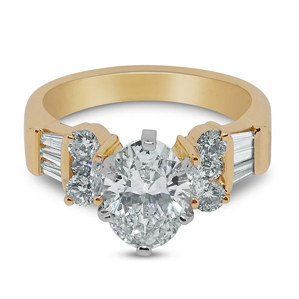 Oval Cut with Round and Baguettes Engagement Ring Image 3 Grogan Jewelers Florence, AL