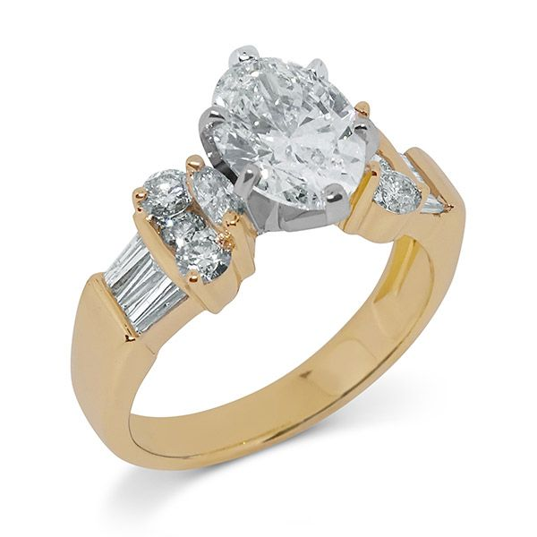 Oval Cut with Round and Baguettes Engagement Ring Image 4 Grogan Jewelers Florence, AL
