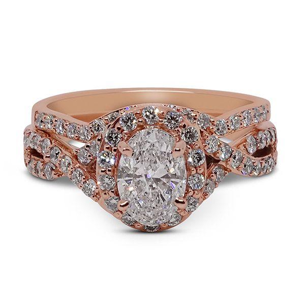 Oval Center Halo Twisted Shank Wedding Set Image 4 Grogan Jewelers Florence, AL