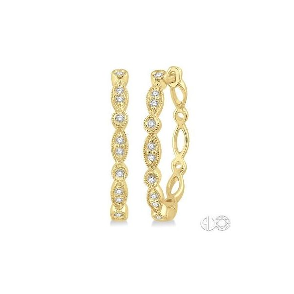10K YELLOW GOLD DIAMOND HOOP EARRINGS Jackson Jewelers Flowood, MS