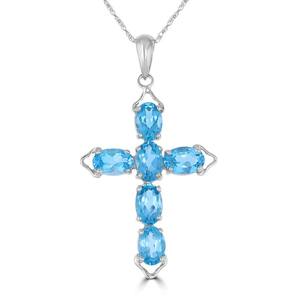 14K WHITE GOLD BLUE TOPAZ CROSS NECKLACE Jackson Jewelers Flowood, MS