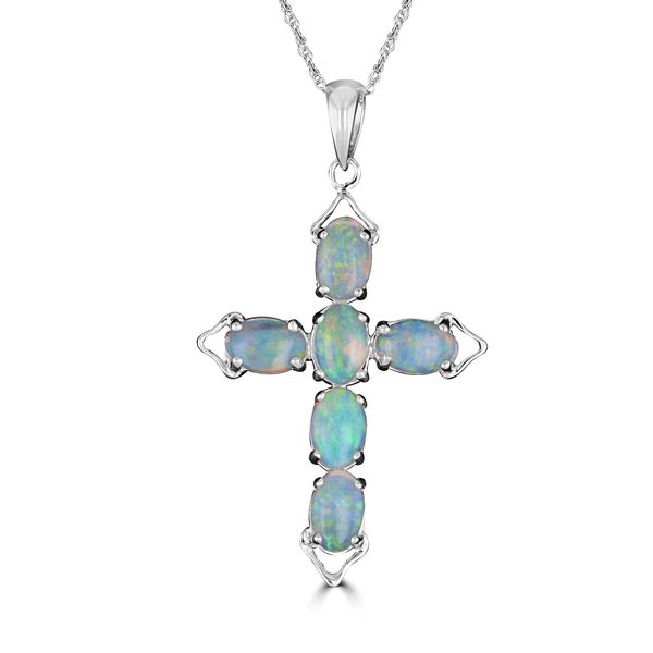 14k WHITE GOLD OPAL CROSS NECKLACE Jackson Jewelers Flowood, MS