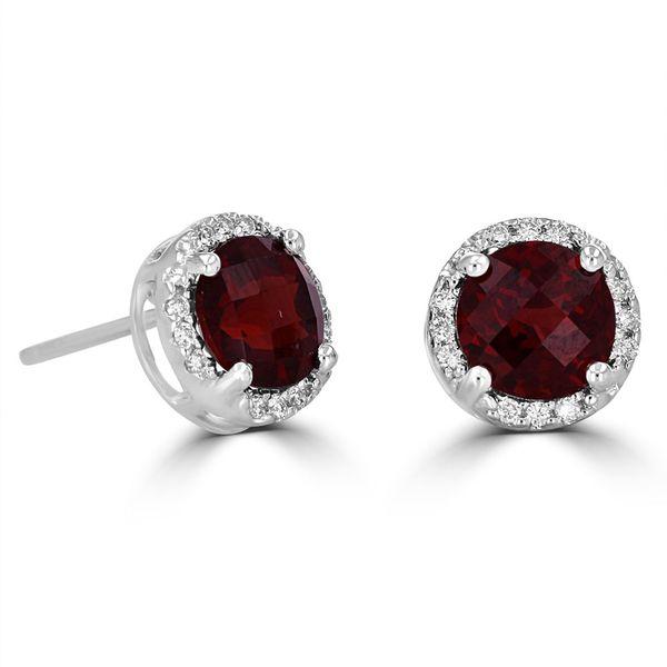 14K WHITE GOLD GARNET AND DIAMOND STUD EARRINGS Jackson Jewelers Flowood, MS