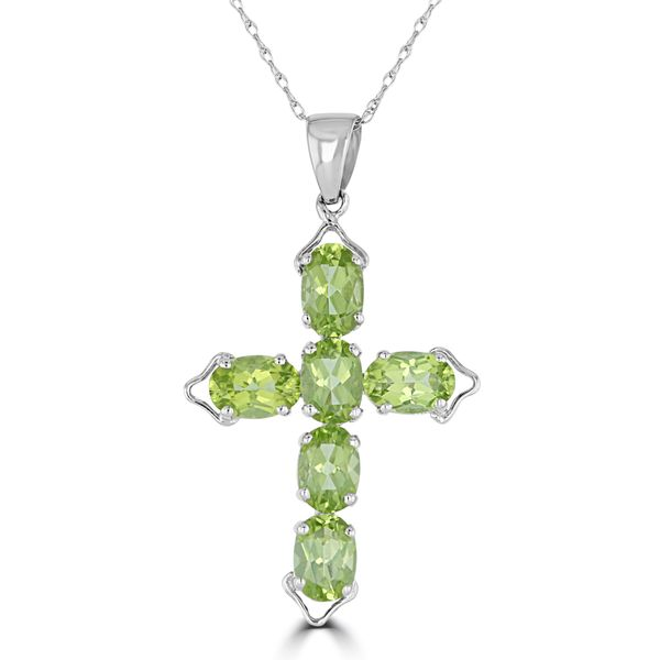 14k WHITE GOLD PERIDOT CROSS NECKLACE Jackson Jewelers Flowood, MS