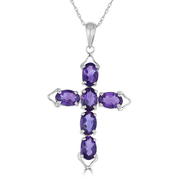 14K WHITE GOLD AMETHYST CROSS NECKLACE Jackson Jewelers Flowood, MS