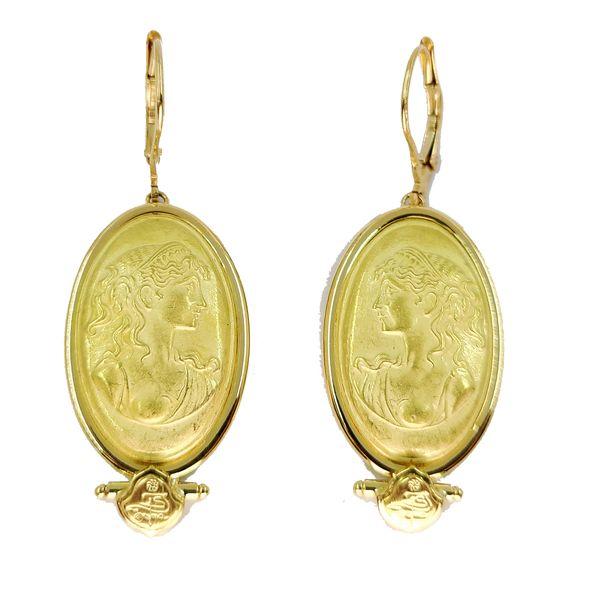 yellow-gold-Roman-portrait-drop-earrings