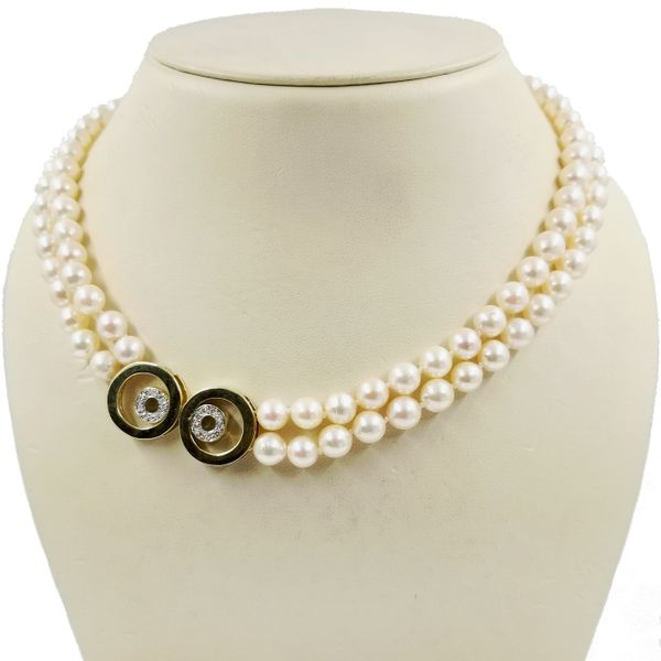 Double-strand-Pearl-Necklace-diamond-clasp