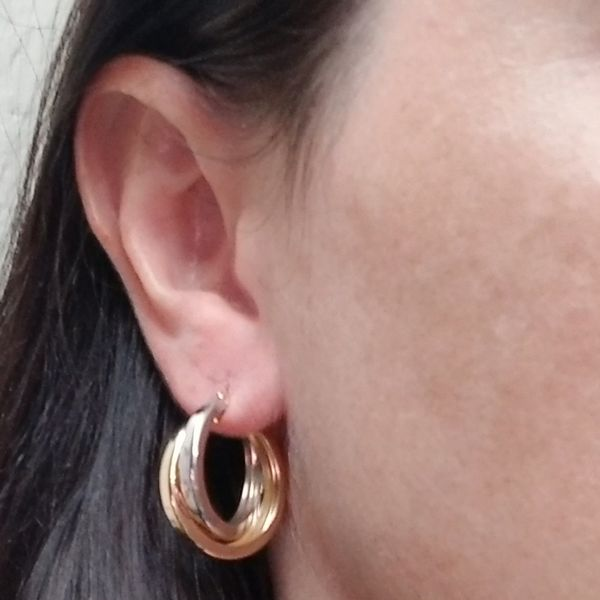 Two Tone Intersecting Hoop Earrings  Image 2 Jae's Jewelers Coral Gables, FL