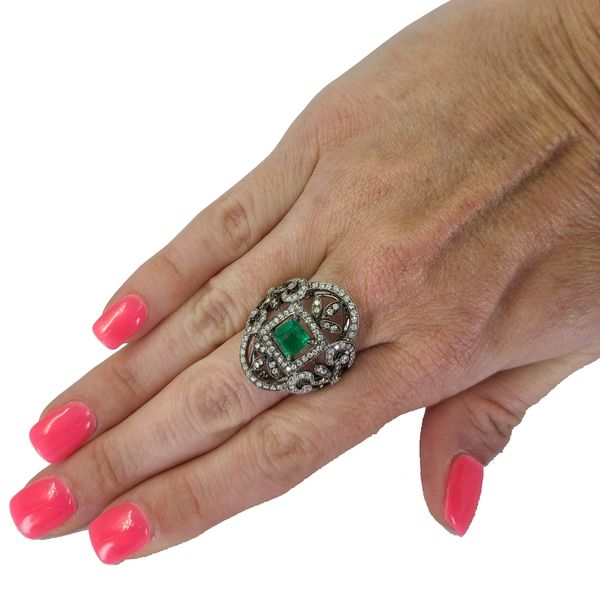 Emerald-and-diamond-open-work-ring
