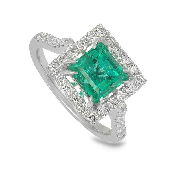 Emerald-and-diamond-halo-ring