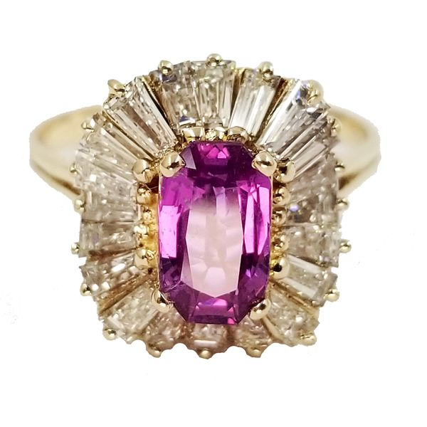 Elongated Oval Pink Sapphire Ring  Jae's Jewelers Coral Gables, FL