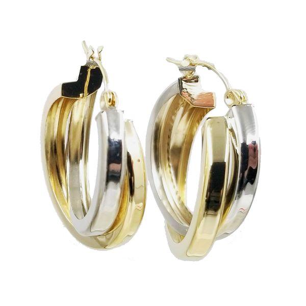 Two Tone Intersecting Hoop Earrings  Jae's Jewelers Coral Gables, FL