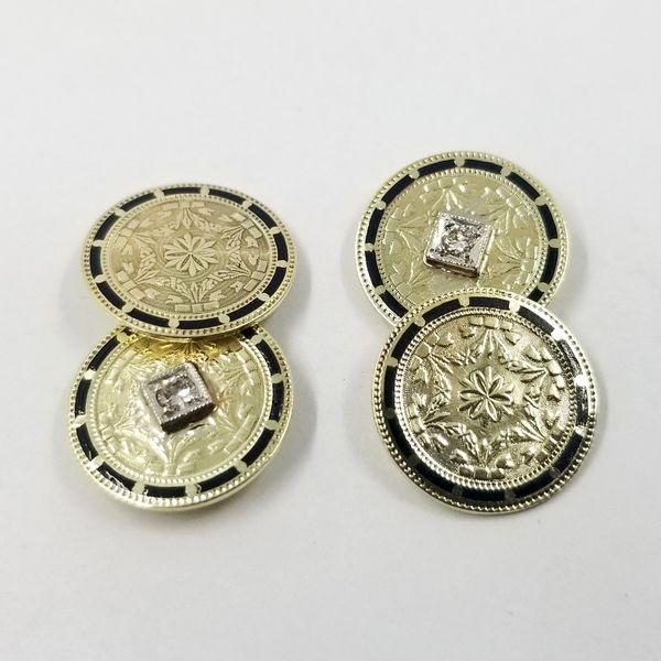 Diamond and Enamel Cufflinks  Image 3 Jae's Jewelers Coral Gables, FL