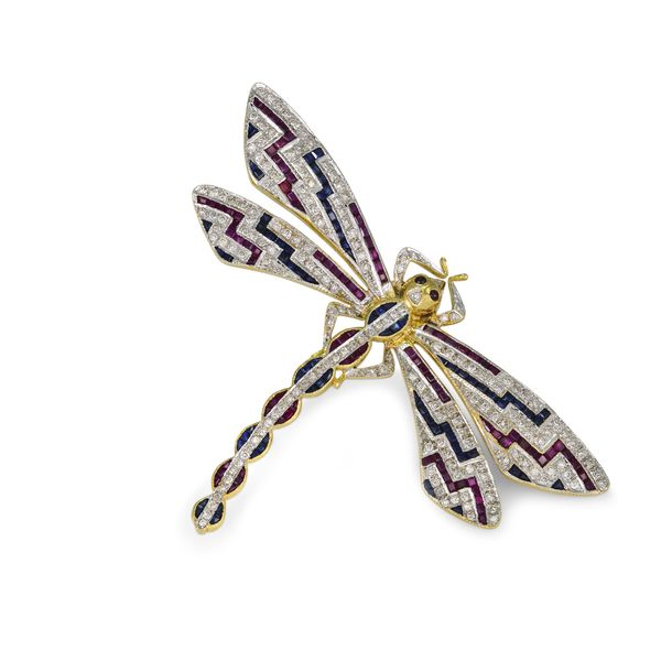 Dragonfly-brooch-with-colored-stones