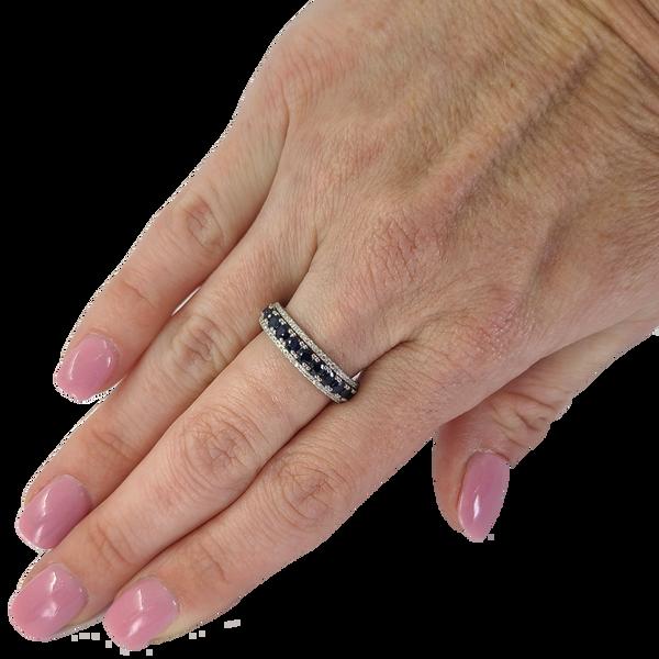 Sapphire and Diamond Band Image 2 Jae's Jewelers Coral Gables, FL