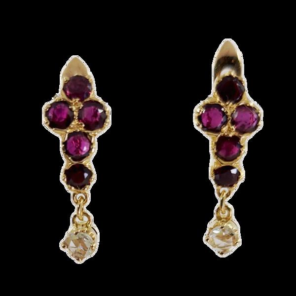 antique ruby dangle earrings