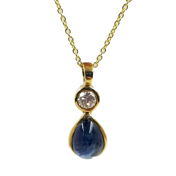 Cabochon Sapphire and Diamond Necklace Jae's Jewelers Coral Gables, FL