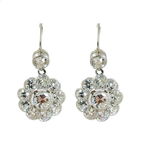 Estate-diamond-flower-drop-earrings