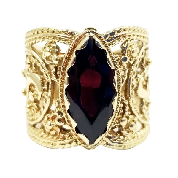 Marquise Cut Garnet Cigar Band Jae's Jewelers Coral Gables, FL