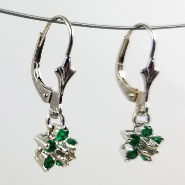 Emerald-Diamond-Flower-Dangle-Earrings