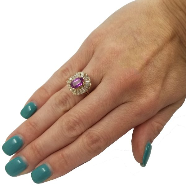 Elongated Oval Pink Sapphire Ring  Image 2 Jae's Jewelers Coral Gables, FL