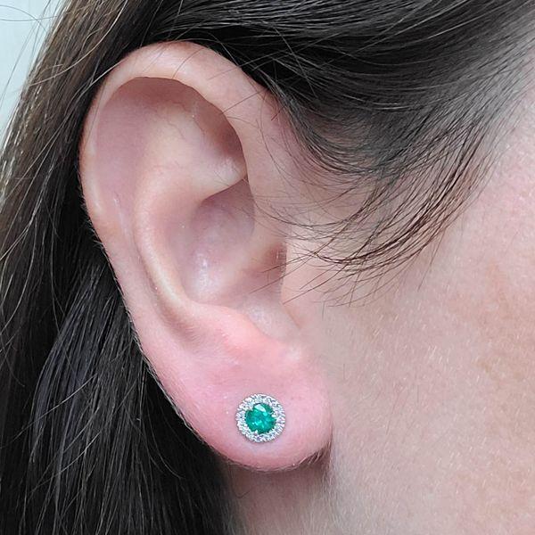 Emerald-Diamond-halo-Stud-Earrings