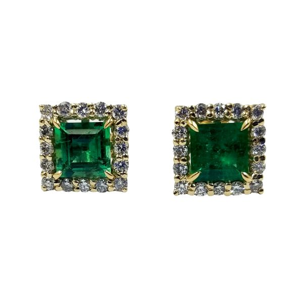 Emerald and Diamond Earrings  Jae's Jewelers Coral Gables, FL