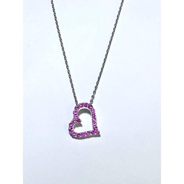 SS Pink Sapphire Heart Necklace Jerald Jewelers Latrobe, PA