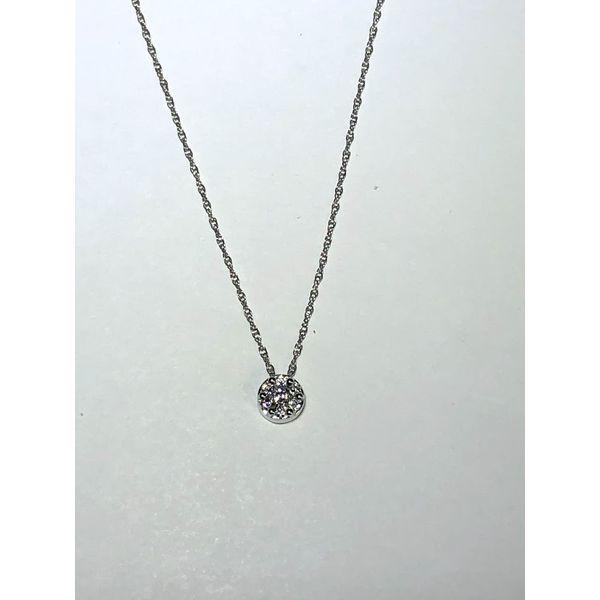 14kt WG Round Diamond Cluster Solitaire pendant Jerald Jewelers Latrobe, PA