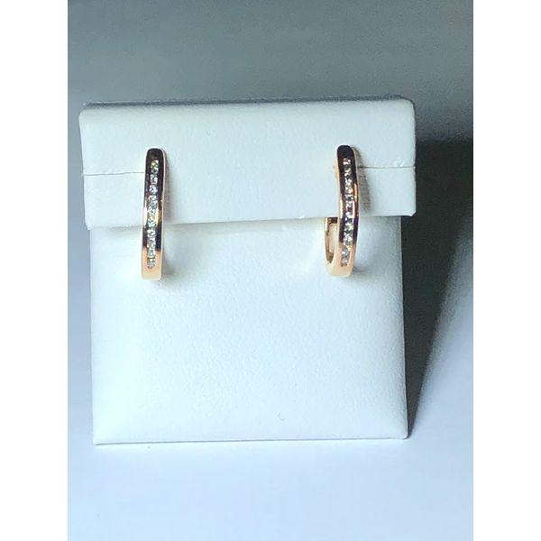 14k rg Channel set Diamond Hoops Jerald Jewelers Latrobe, PA