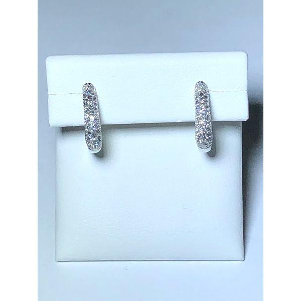 14kt Pave Round Diamond Hoops Jerald Jewelers Latrobe, PA