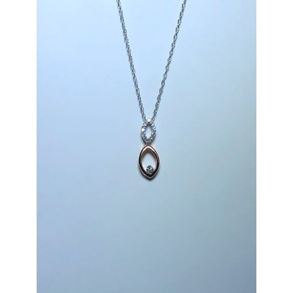 14k R/W Drop diamond pendant Jerald Jewelers Latrobe, PA