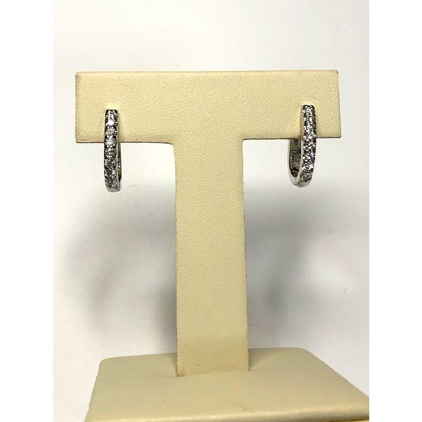 14kt WG Prong set Diamond hoop earrings Jerald Jewelers Latrobe, PA
