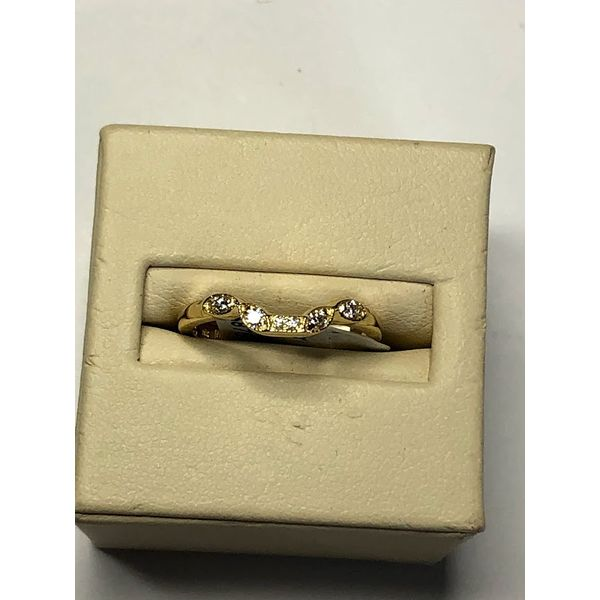 14kt YG Curved diamond wedding band Jerald Jewelers Latrobe, PA