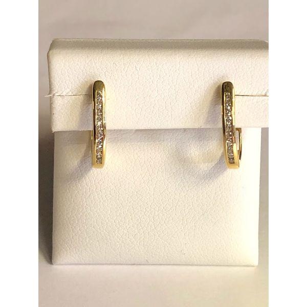 14kt yg channel set diamond hoops Jerald Jewelers Latrobe, PA