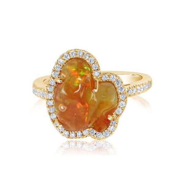 MEXICAN FIRE OPAL/DIAMOND RING 'N' Jerald Jewelers Latrobe, PA