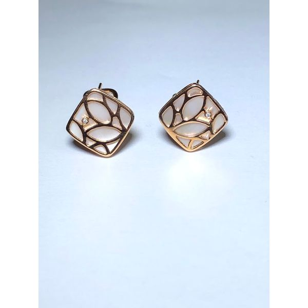 14kt rose mother of pearl and diamond earrings Jerald Jewelers Latrobe, PA