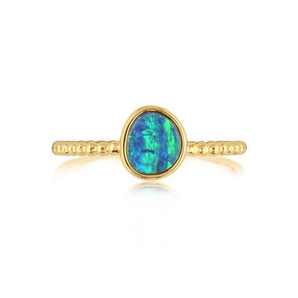 AUSTRALIAN OPAL DOUBLET BEADED SHANK RING  Jerald Jewelers Latrobe, PA