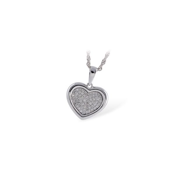 14kt wg Pave Heart Pendant Jerald Jewelers Latrobe, PA