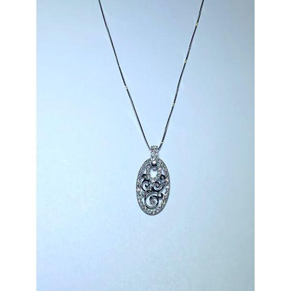 14kw Diamond oval pendant scroll Jerald Jewelers Latrobe, PA